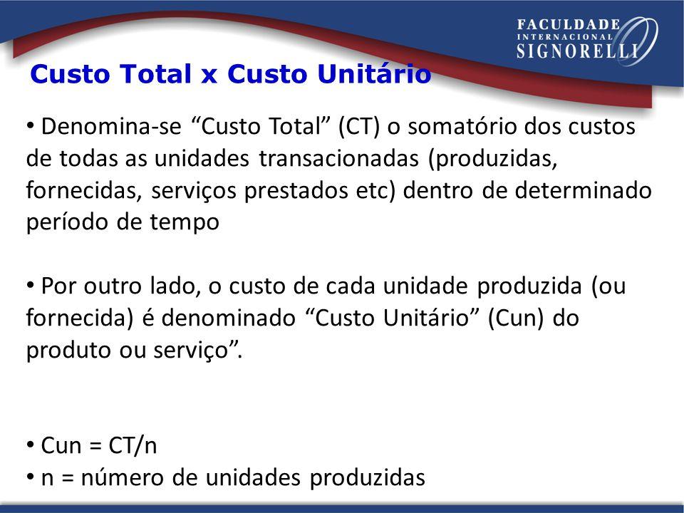 Custo Total x Custo Unitário Denomina-se Custo Total (CT) o somatório dos custos de todas as unidades transacionadas (produzidas, fornecidas, serviços