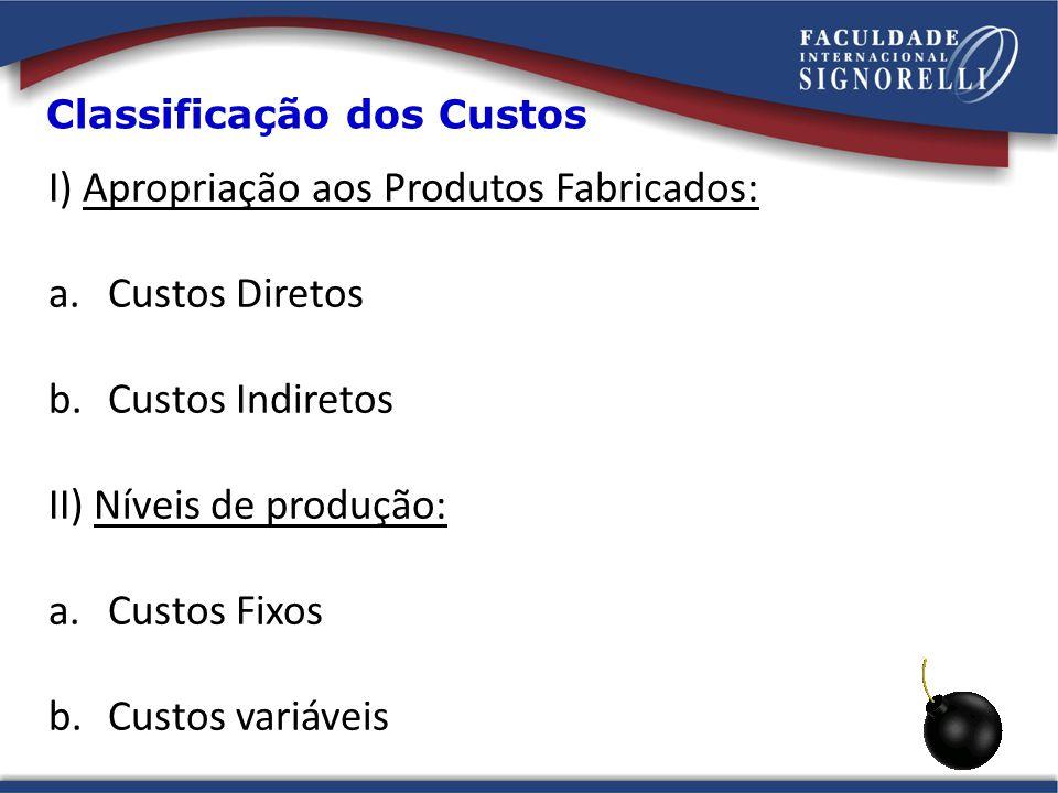 Classificação dos Custos I) Apropriação aos Produtos Fabricados: a.Custos Diretos b.Custos Indiretos II) Níveis de produção: a.Custos Fixos b.Custos v