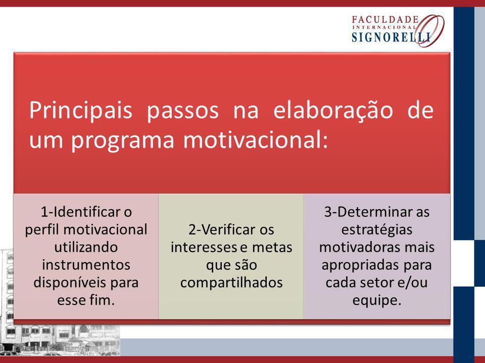 Principais passos na elaboração de um programa motivacional: 1-Identificar o perfil motivacional utilizando instrumentos disponíveis para esse fim. 2-