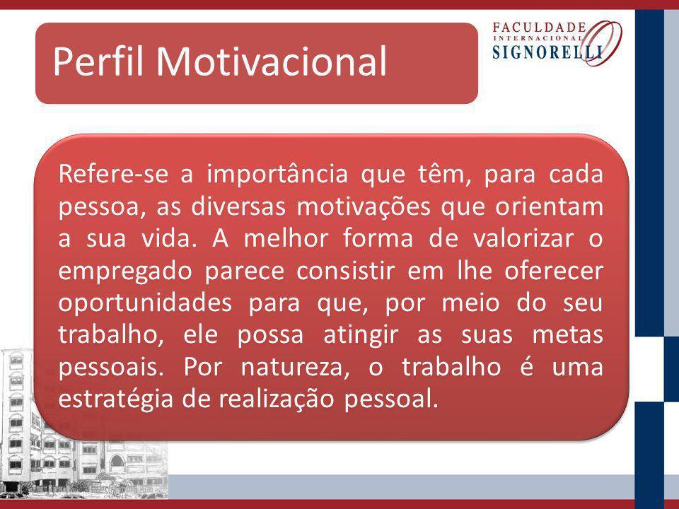 Perfil Motivacional Refere-se a importância que têm, para cada pessoa, as diversas motivações que orientam a sua vida.