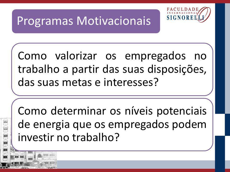 Programas Motivacionais Como valorizar os empregados no trabalho a partir das suas disposições, das suas metas e interesses? Como determinar os níveis