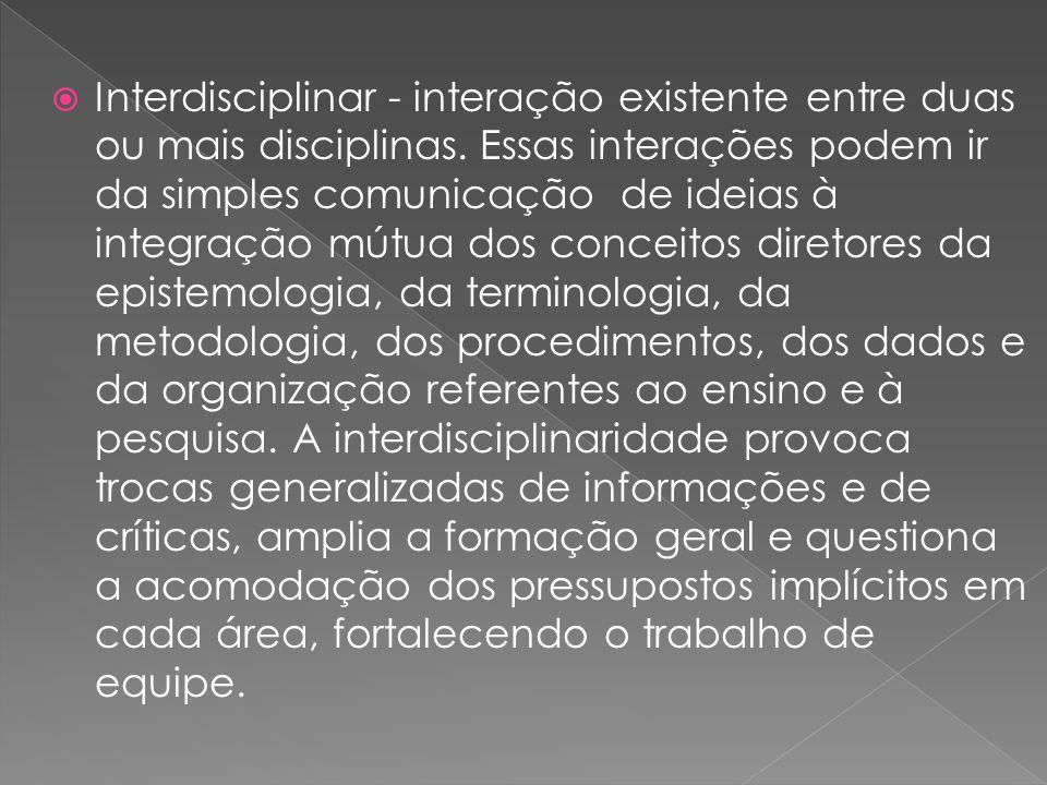 Interdisciplinar - interação existente entre duas ou mais disciplinas. Essas interações podem ir da simples comunicação de ideias à integração mútua d