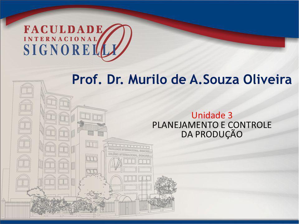 Prof. Dr. Murilo de A.Souza Oliveira Unidade 3 PLANEJAMENTO E CONTROLE DA PRODUÇÃO