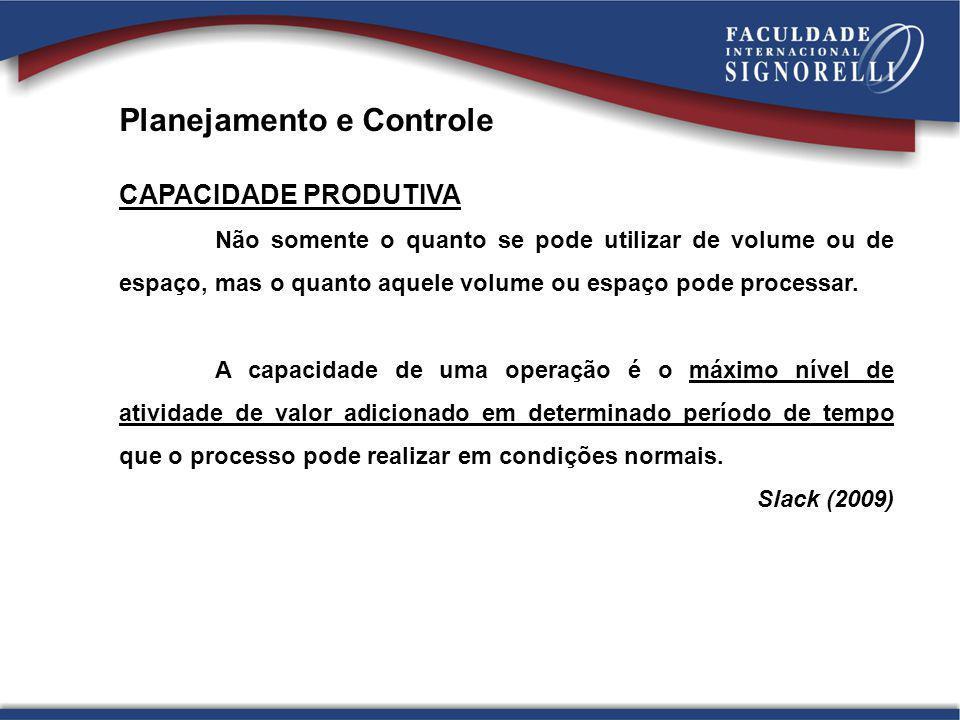 Planejamento e Controle CAPACIDADE PRODUTIVA Não somente o quanto se pode utilizar de volume ou de espaço, mas o quanto aquele volume ou espaço pode p
