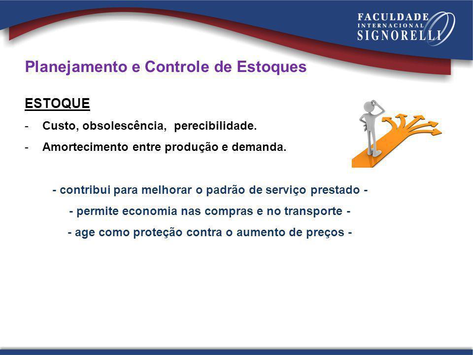 Planejamento e Controle de Estoques ESTOQUE -Custo, obsolescência, perecibilidade. -Amortecimento entre produção e demanda. - contribui para melhorar