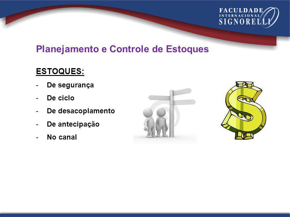 Planejamento e Controle de Estoques ESTOQUES: -De segurança -De ciclo -De desacoplamento -De antecipação -No canal