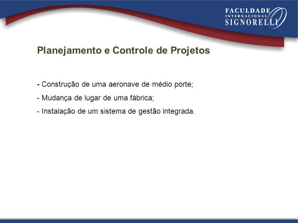 Planejamento e Controle de Projetos - Construção de uma aeronave de médio porte; - Mudança de lugar de uma fábrica; - Instalação de um sistema de gest
