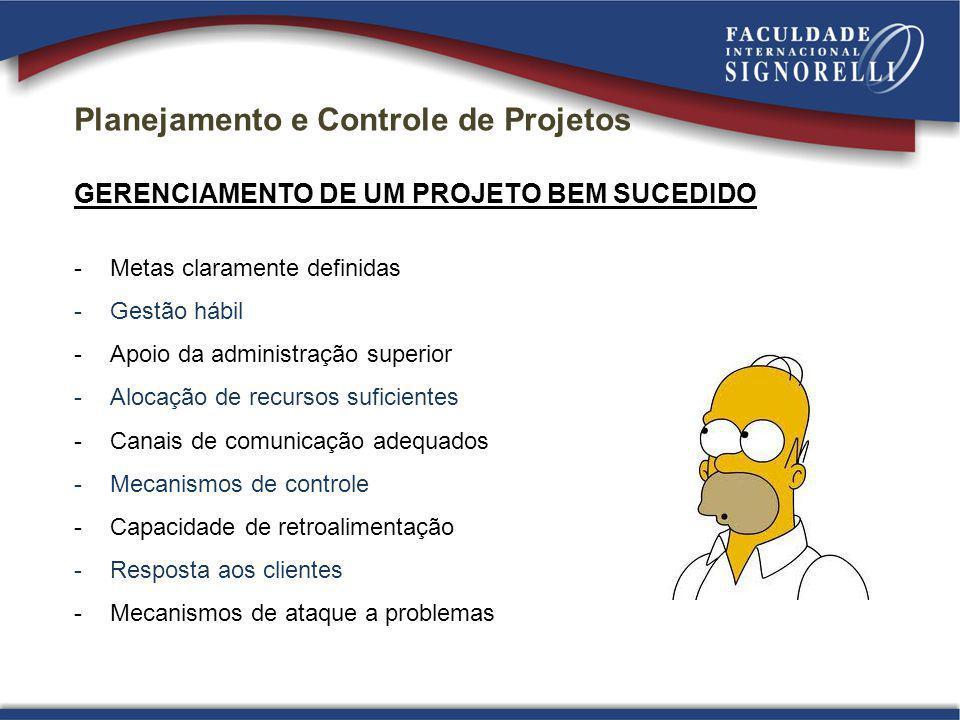 Planejamento e Controle de Projetos GERENCIAMENTO DE UM PROJETO BEM SUCEDIDO -Metas claramente definidas -Gestão hábil -Apoio da administração superio