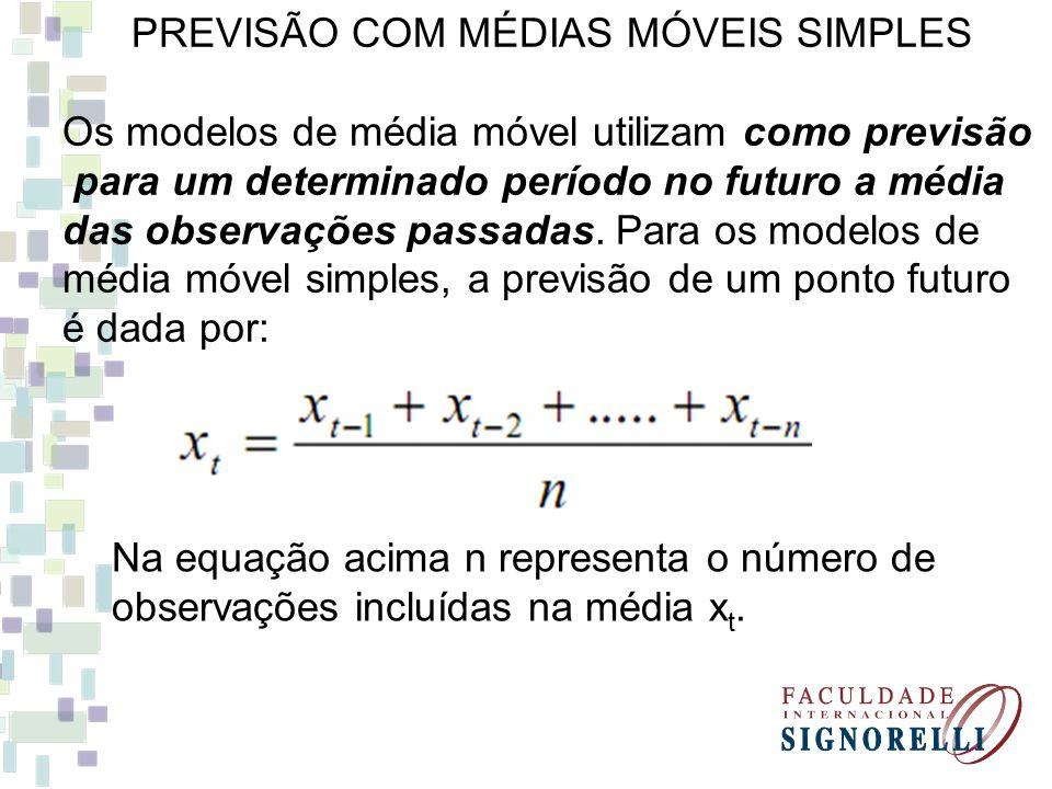 PREVISÃO COM MÉDIAS MÓVEIS SIMPLES Os modelos de média móvel utilizam como previsão para um determinado período no futuro a média das observações pass