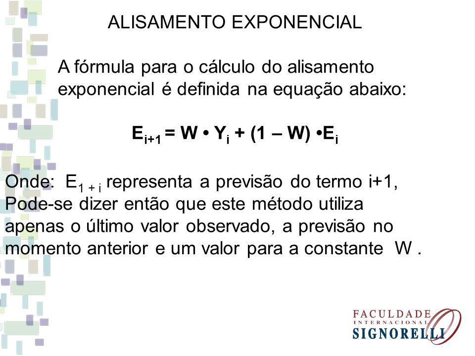 ALISAMENTO EXPONENCIAL A fórmula para o cálculo do alisamento exponencial é definida na equação abaixo: E i+1 = W Y i + (1 – W) E i Onde: E 1 + i repr