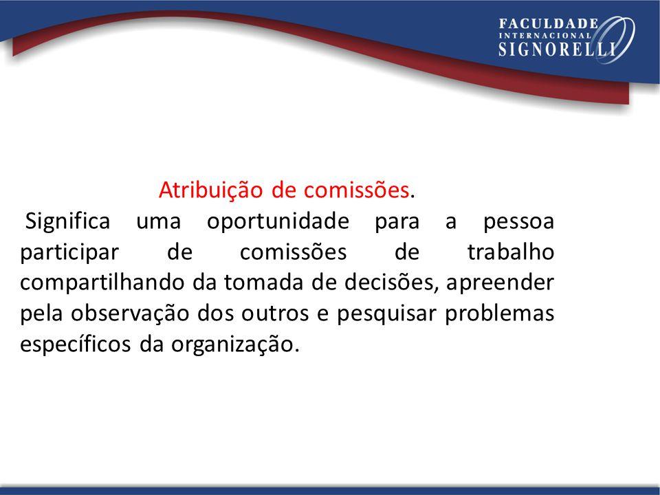 Atribuição de comissões. Significa uma oportunidade para a pessoa participar de comissões de trabalho compartilhando da tomada de decisões, apreender
