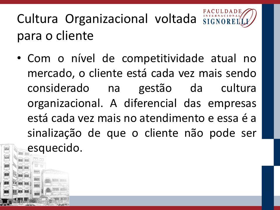 Cultura Organizacional voltada para o cliente Com o nível de competitividade atual no mercado, o cliente está cada vez mais sendo considerado na gestã