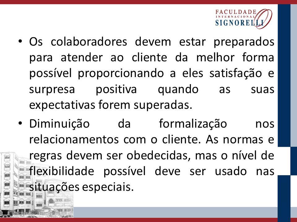 Os colaboradores devem estar preparados para atender ao cliente da melhor forma possível proporcionando a eles satisfação e surpresa positiva quando a