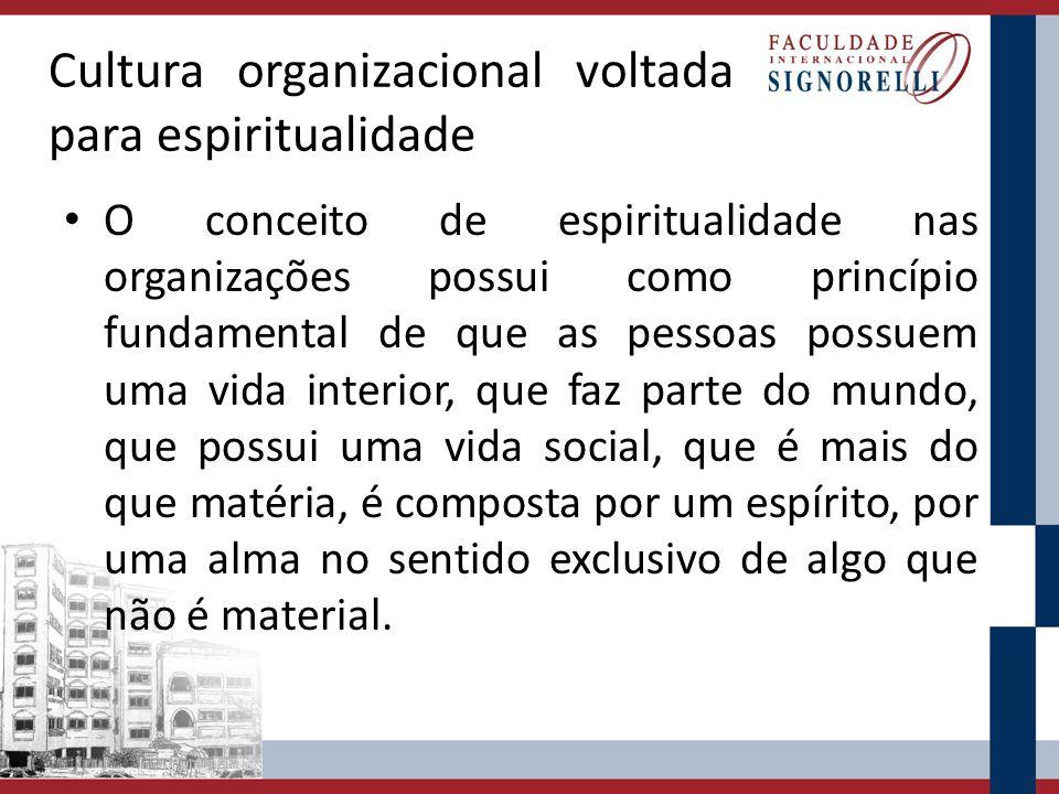 Cultura organizacional voltada para espiritualidade O conceito de espiritualidade nas organizações possui como princípio fundamental de que as pessoas