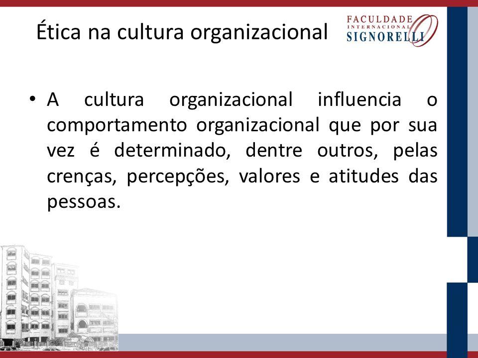 Ética na cultura organizacional A cultura organizacional influencia o comportamento organizacional que por sua vez é determinado, dentre outros, pelas