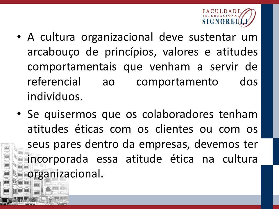 A cultura organizacional deve sustentar um arcabouço de princípios, valores e atitudes comportamentais que venham a servir de referencial ao comportam