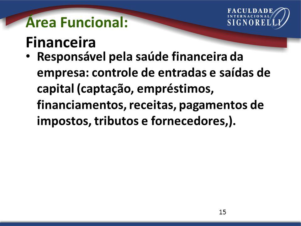 15 Área Funcional: Financeira Responsável pela saúde financeira da empresa: controle de entradas e saídas de capital (captação, empréstimos, financiam