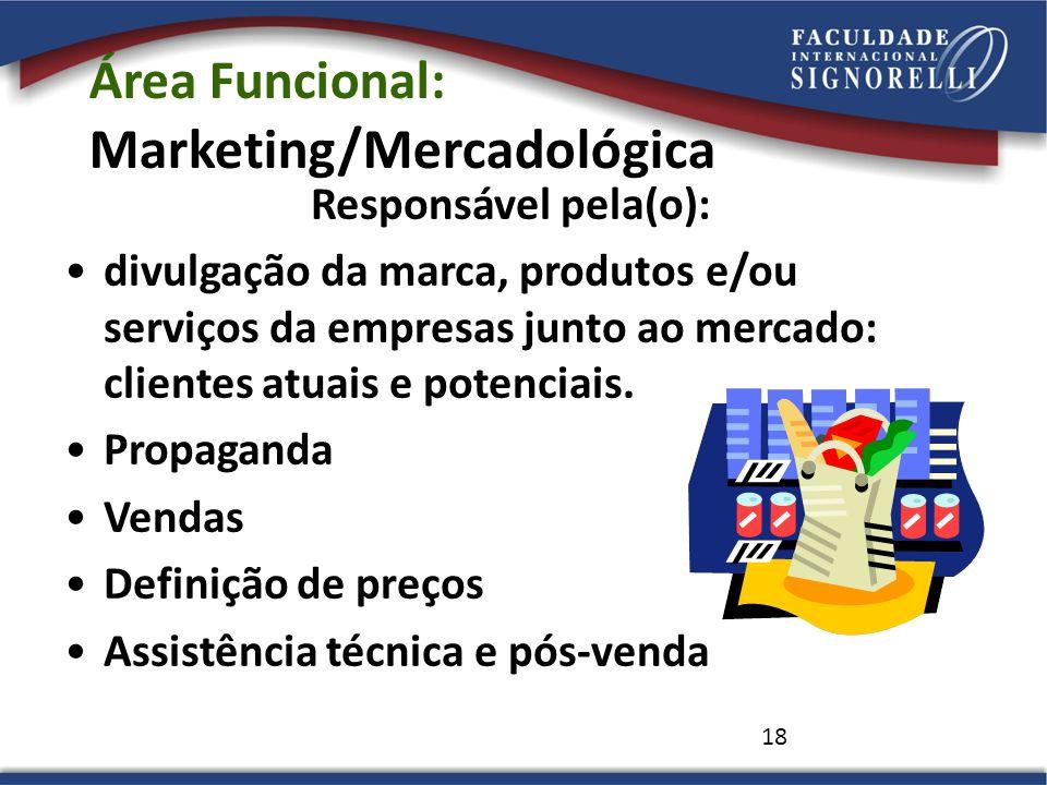 18 Área Funcional: Marketing/Mercadológica Responsável pela(o): divulgação da marca, produtos e/ou serviços da empresas junto ao mercado: clientes atu