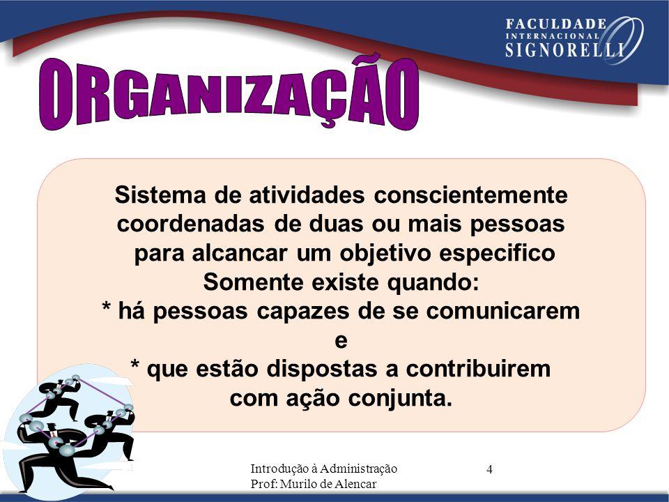 Introdução à Administração Prof: Murilo de Alencar 5 GRUPO DE PESSOAS QUE SE CONSTITUI DE FORMA ORGANIZADA PARA ALCANÇAR OBJETIVOS COMUNS