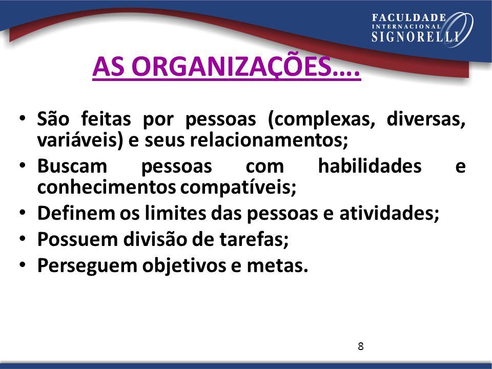 8 AS ORGANIZAÇÕES…. São feitas por pessoas (complexas, diversas, variáveis) e seus relacionamentos; Buscam pessoas com habilidades e conhecimentos com