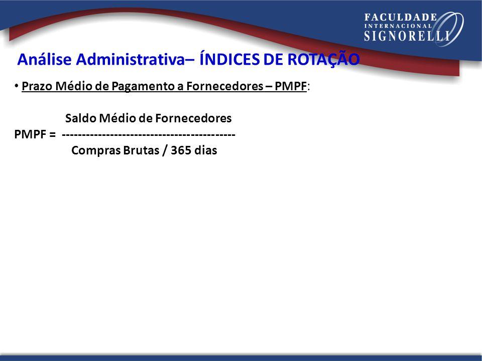 Prazo Médio de Pagamento a Fornecedores – PMPF: Saldo Médio de Fornecedores PMPF = ------------------------------------------- Compras Brutas / 365 dias Análise Administrativa– ÍNDICES DE ROTAÇÃO