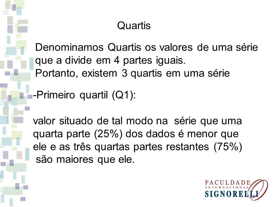 Quartis Denominamos Quartis os valores de uma série que a divide em 4 partes iguais. Portanto, existem 3 quartis em uma série -Primeiro quartil (Q1):