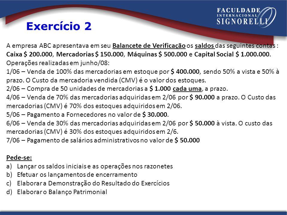 A empresa ABC apresentava em seu Balancete de Verificação os saldos das seguintes contas : Caixa $ 200.000, Mercadorias $ 150.000, Máquinas $ 500.000