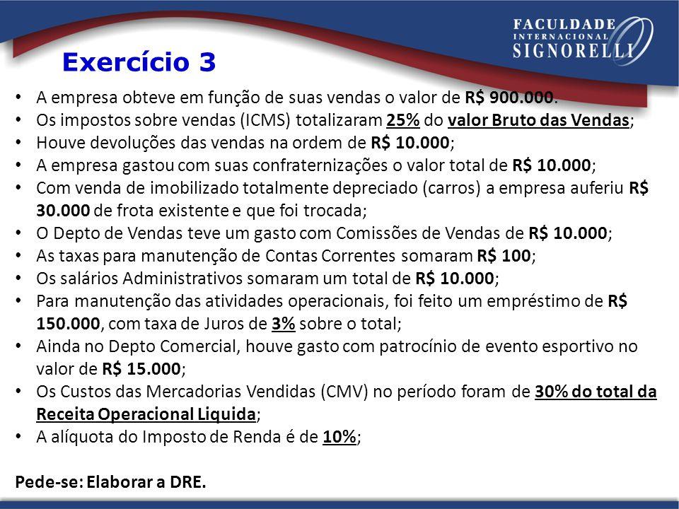 A empresa obteve em função de suas vendas o valor de R$ 900.000. Os impostos sobre vendas (ICMS) totalizaram 25% do valor Bruto das Vendas; Houve devo