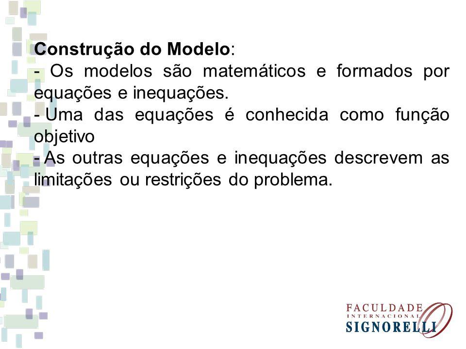 Construção do Modelo: - Os modelos são matemáticos e formados por equações e inequações. - Uma das equações é conhecida como função objetivo - As outr