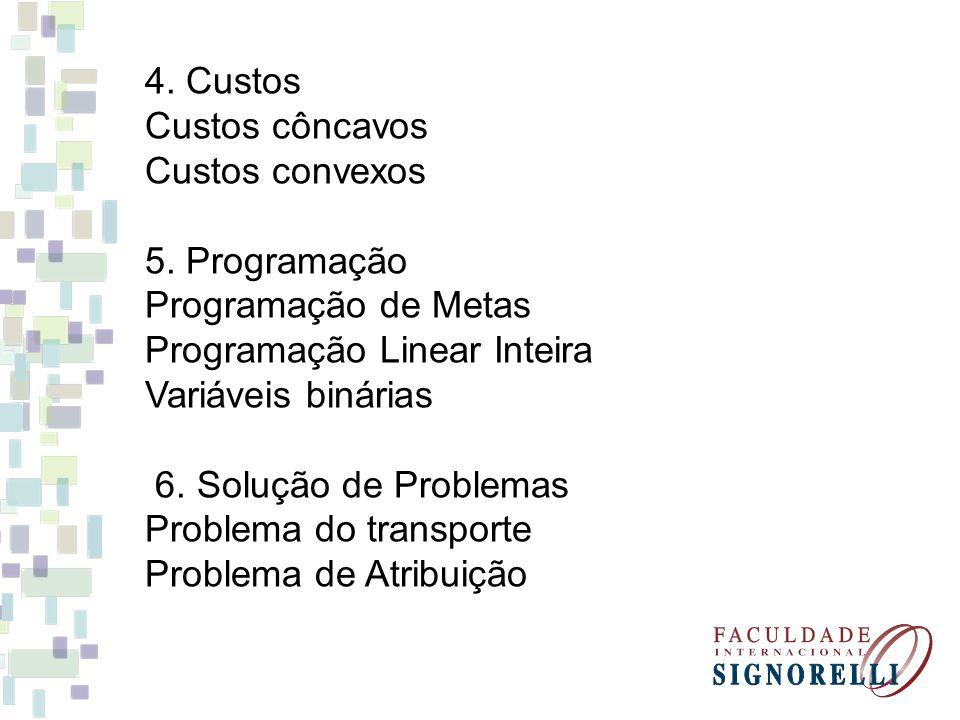4. Custos Custos côncavos Custos convexos 5. Programação Programação de Metas Programação Linear Inteira Variáveis binárias 6. Solução de Problemas Pr