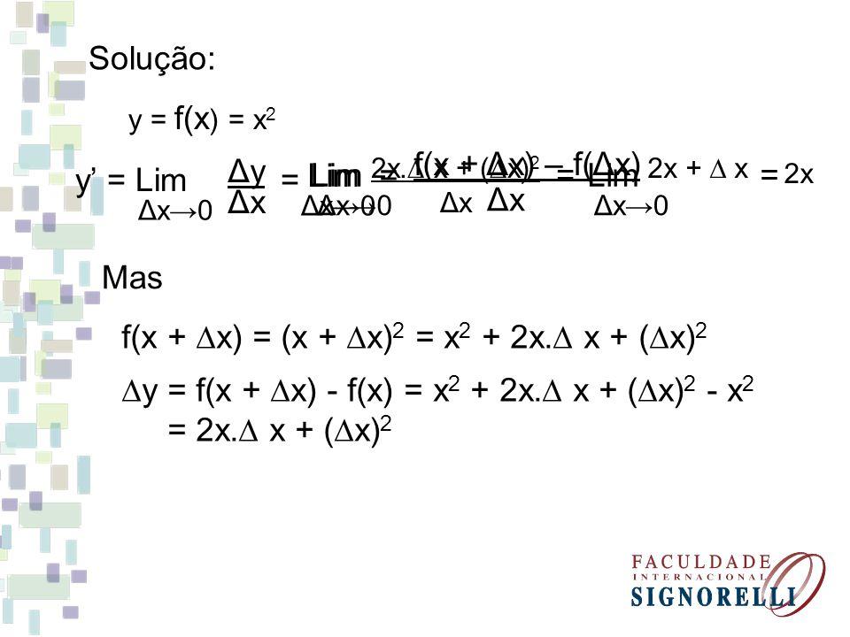 Solução: y = f(x ) = x 2 f(x + x) = (x + x) 2 = x 2 + 2x. x + ( x) 2 y = f(x + x) - f(x) = x 2 + 2x. x + ( x) 2 - x 2 = 2x. x + ( x) 2 Mas y = Lim = Δ