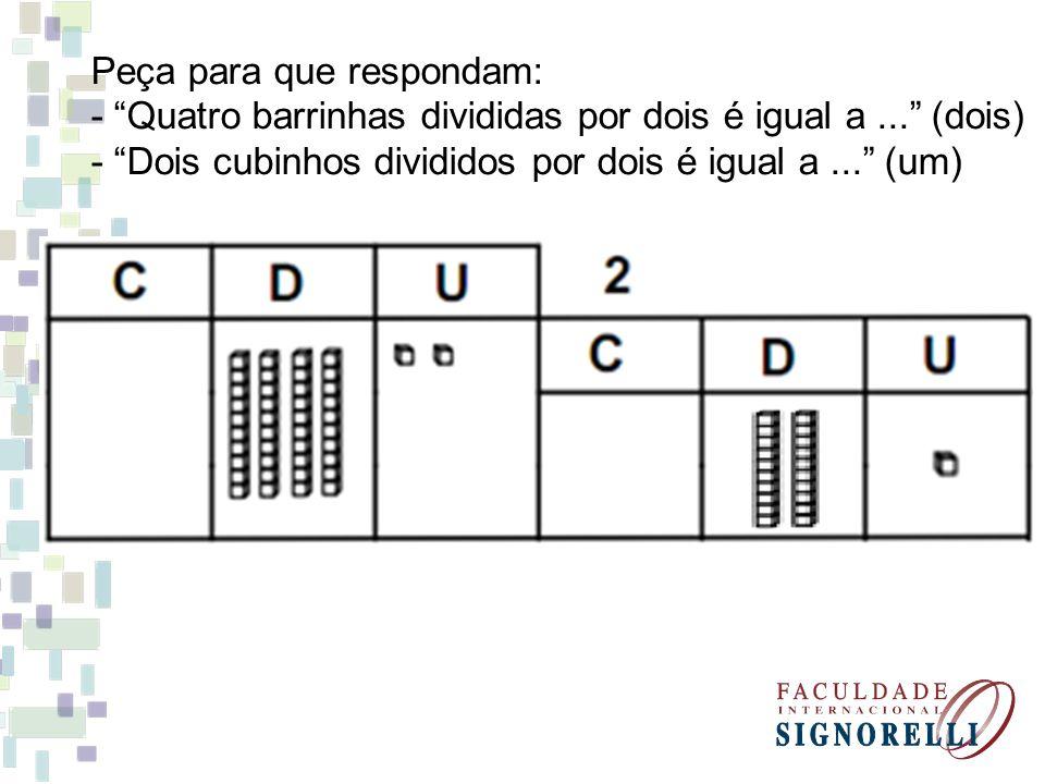Peça para que respondam: - Quatro barrinhas divididas por dois é igual a...