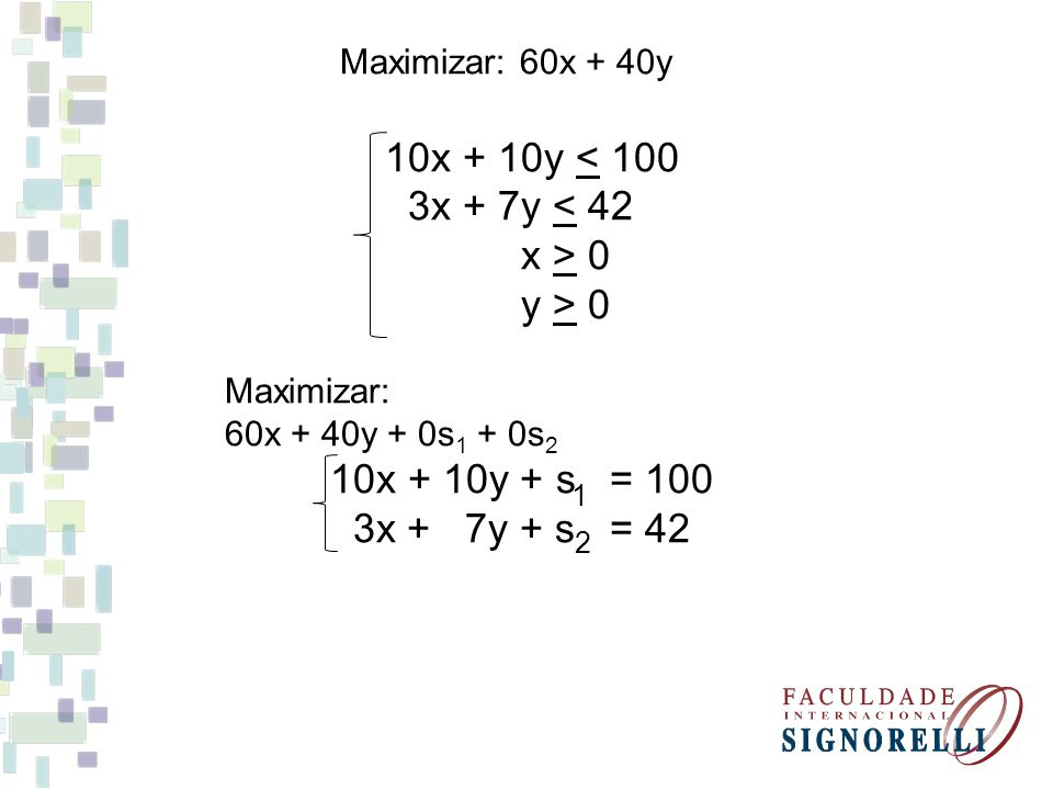 Maximizar: 60x + 40y 10x + 10y < 100 3x + 7y < 42 x > 0 y > 0 Maximizar: 60x + 40y + 0s 1 + 0s 2 10x + 10y + s = 100 3x + 7y + s = 42 1 2