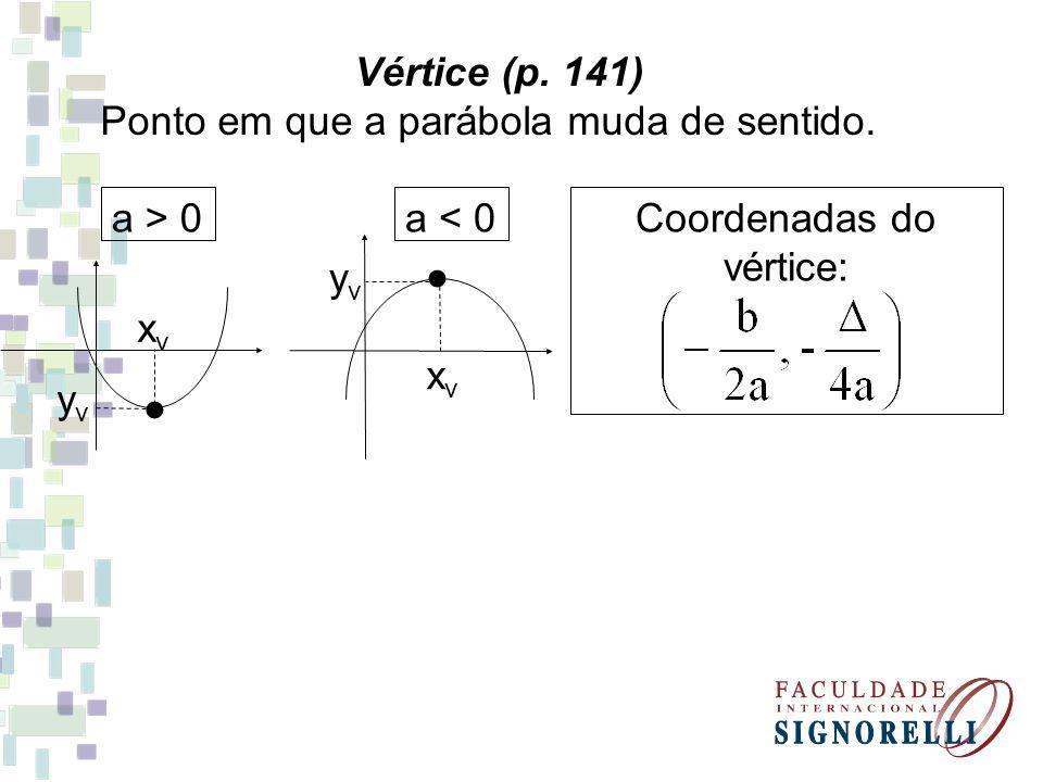 Vértice (p. 141) Ponto em que a parábola muda de sentido. yvyv xvxv a > 0 yvyv xvxv a < 0Coordenadas do vértice: