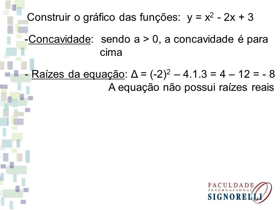 Construir o gráfico das funções: y = x 2 - 2x + 3 -Concavidade: sendo a > 0, a concavidade é para cima - Raízes da equação: Δ = (-2) 2 – 4.1.3 = 4 – 1