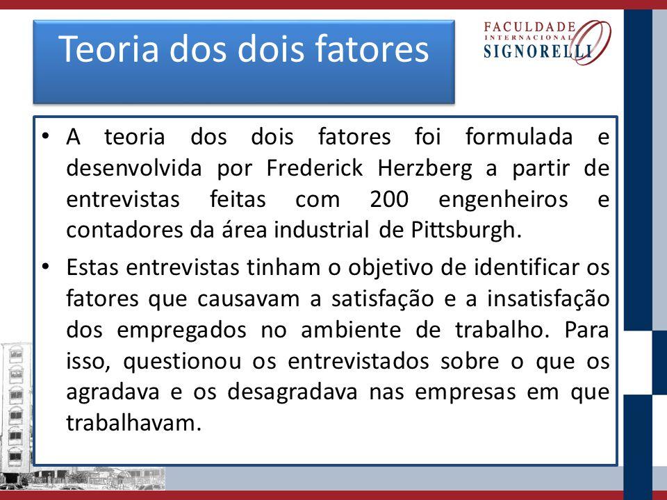 Teoria dos dois fatores A teoria dos dois fatores foi formulada e desenvolvida por Frederick Herzberg a partir de entrevistas feitas com 200 engenheiros e contadores da área industrial de Pittsburgh.