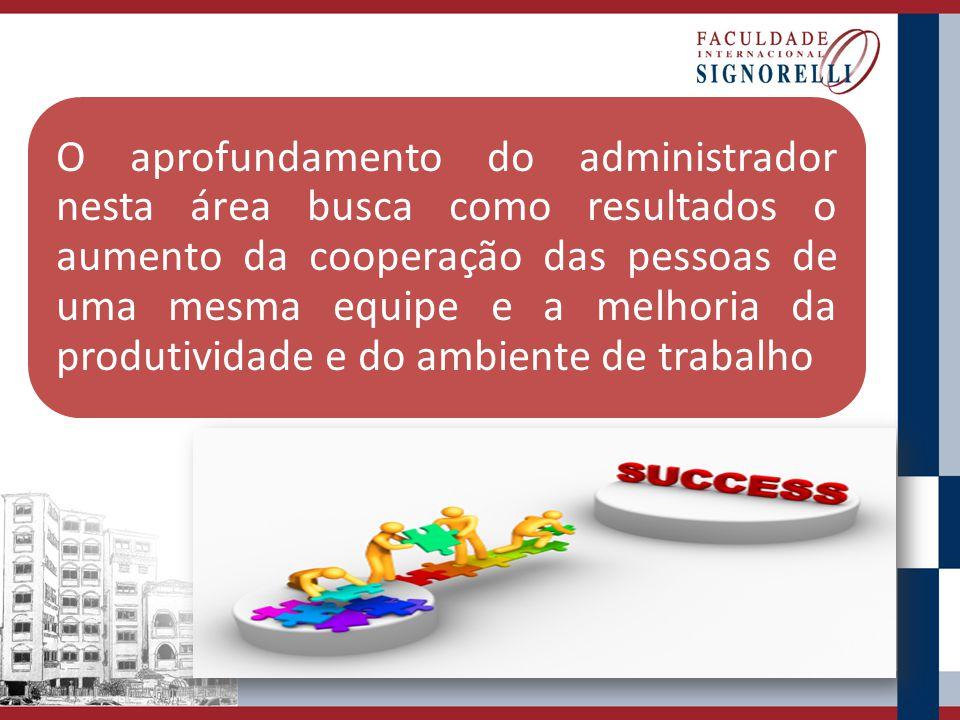 O aprofundamento do administrador nesta área busca como resultados o aumento da cooperação das pessoas de uma mesma equipe e a melhoria da produtividade e do ambiente de trabalho