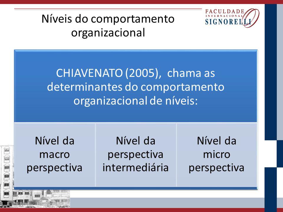 Níveis do comportamento organizacional CHIAVENATO (2005), chama as determinantes do comportamento organizacional de níveis: Nível da macro perspectiva Nível da perspectiva intermediária Nível da micro perspectiva