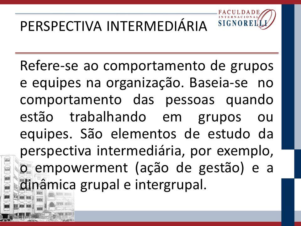PERSPECTIVA INTERMEDIÁRIA Refere-se ao comportamento de grupos e equipes na organização.