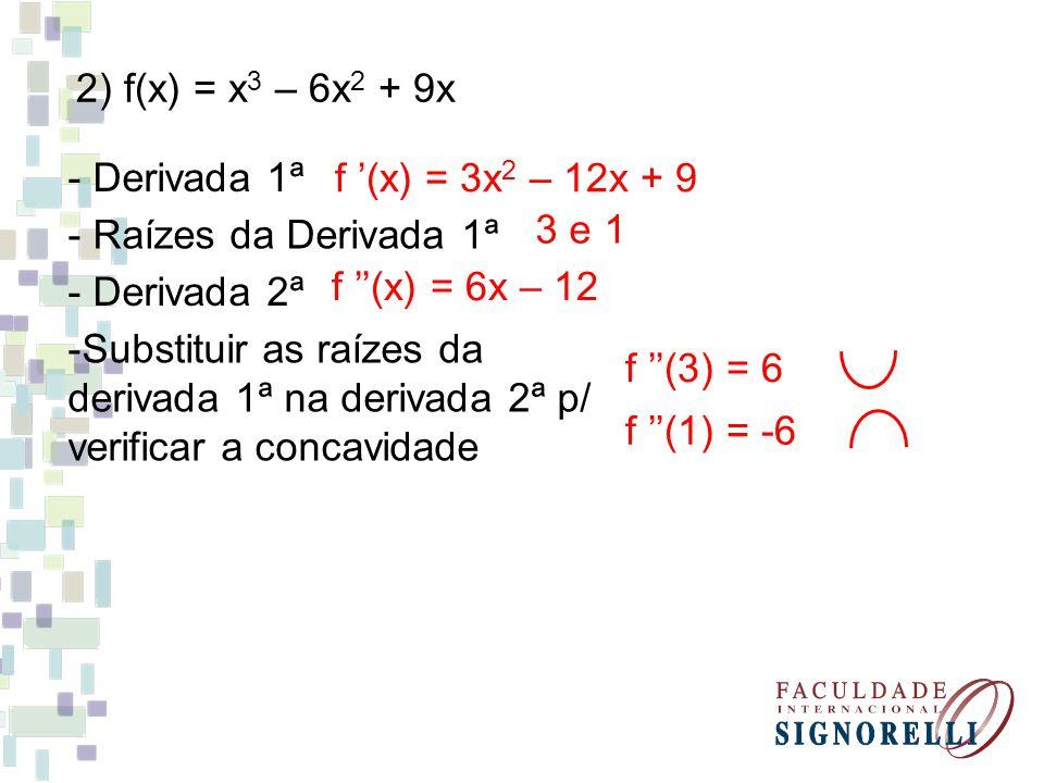2) f(x) = x 3 – 6x 2 + 9x - Derivada 1ª f (x) = 3x 2 – 12x + 9 - Raízes da Derivada 1ª 3 e 1 - Derivada 2ª f (x) = 6x – 12 -Substituir as raízes da derivada 1ª na derivada 2ª p/ verificar a concavidade f (3) = 6 f (1) = -6