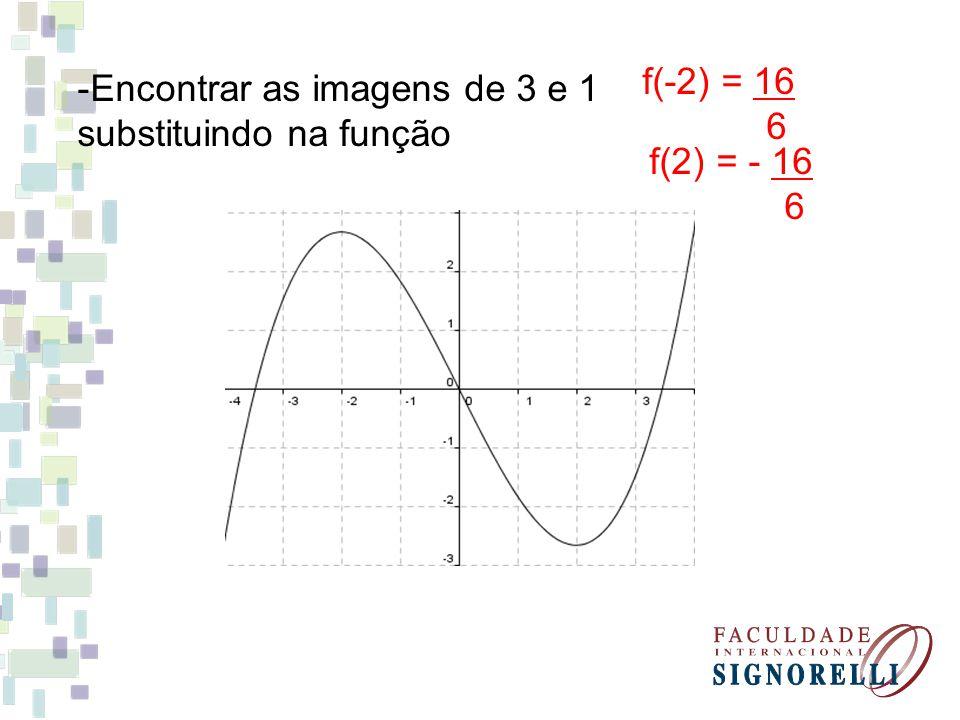 -Encontrar as imagens de 3 e 1 substituindo na função f(-2) = 16 6 f(2) = - 16 6