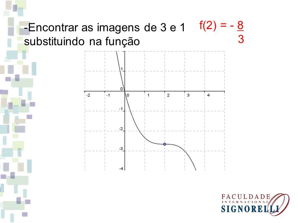 -Encontrar as imagens de 3 e 1 substituindo na função f(2) = - 8 3
