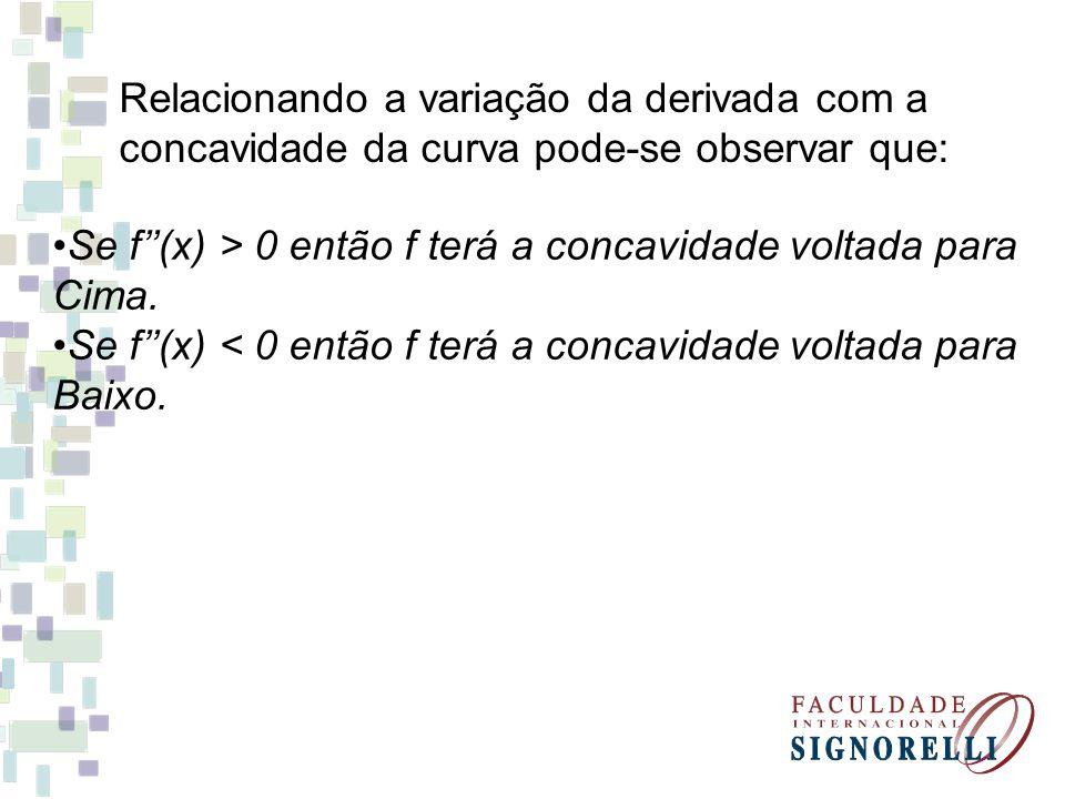 Relacionando a variação da derivada com a concavidade da curva pode-se observar que: Se f(x) > 0 então f terá a concavidade voltada para Cima. Se f(x)