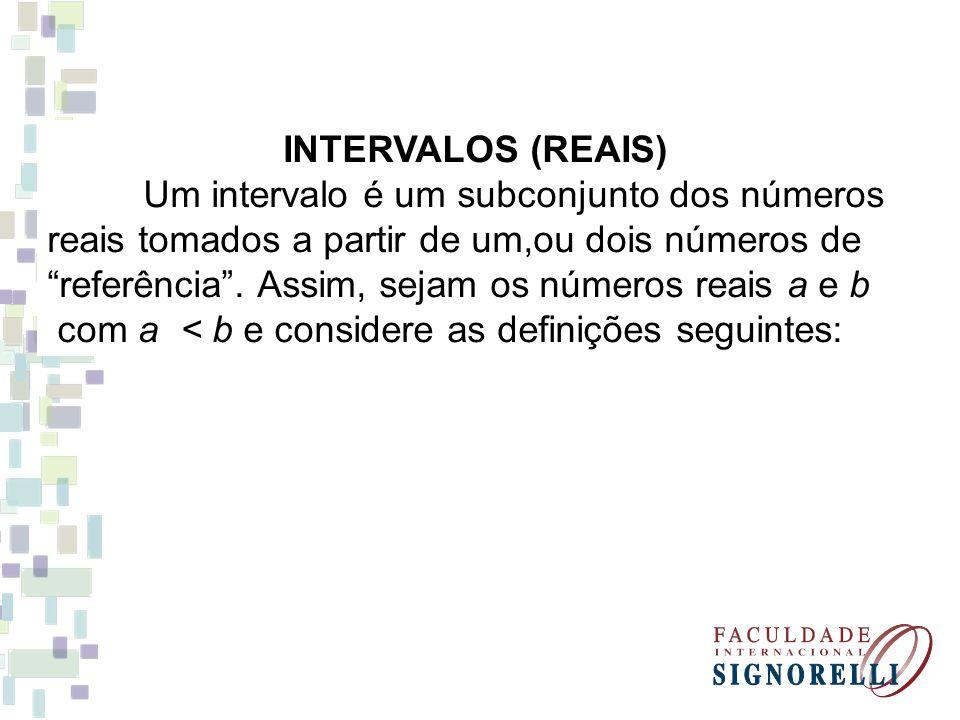 INTERVALOS (REAIS) Um intervalo é um subconjunto dos números reais tomados a partir de um,ou dois números de referência.