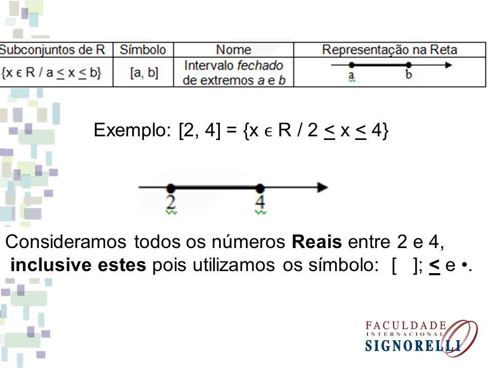 Exemplo: [2, 4] = {x R / 2 < x < 4} Consideramos todos os números Reais entre 2 e 4, inclusive estes pois utilizamos os símbolo: [ ]; < e.