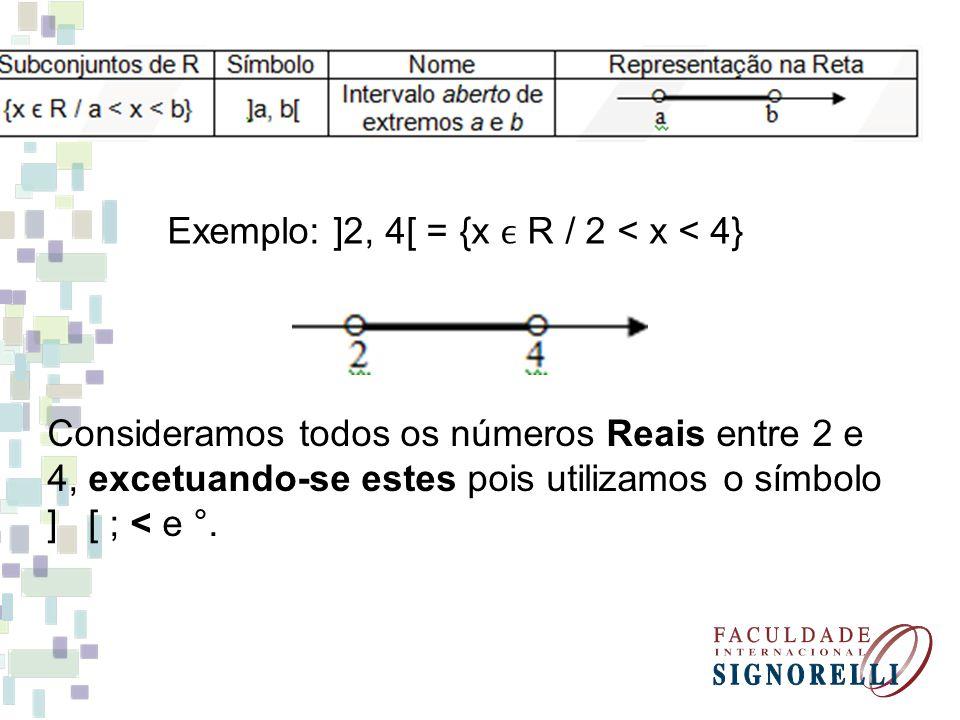 Exemplo: ]2, 4[ = {x R / 2 < x < 4} Consideramos todos os números Reais entre 2 e 4, excetuando-se estes pois utilizamos o símbolo ] [ ; < e °.