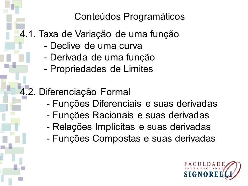 Conteúdos Programáticos 4.1. Taxa de Variação de uma função - Declive de uma curva - Derivada de uma função - Propriedades de Limites 4.2. Diferenciaç