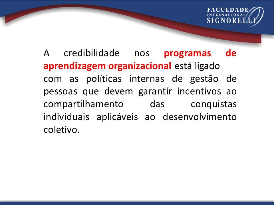 A credibilidade nos programas de aprendizagem organizacional está ligado com as políticas internas de gestão de pessoas que devem garantir incentivos ao compartilhamento das conquistas individuais aplicáveis ao desenvolvimento coletivo.