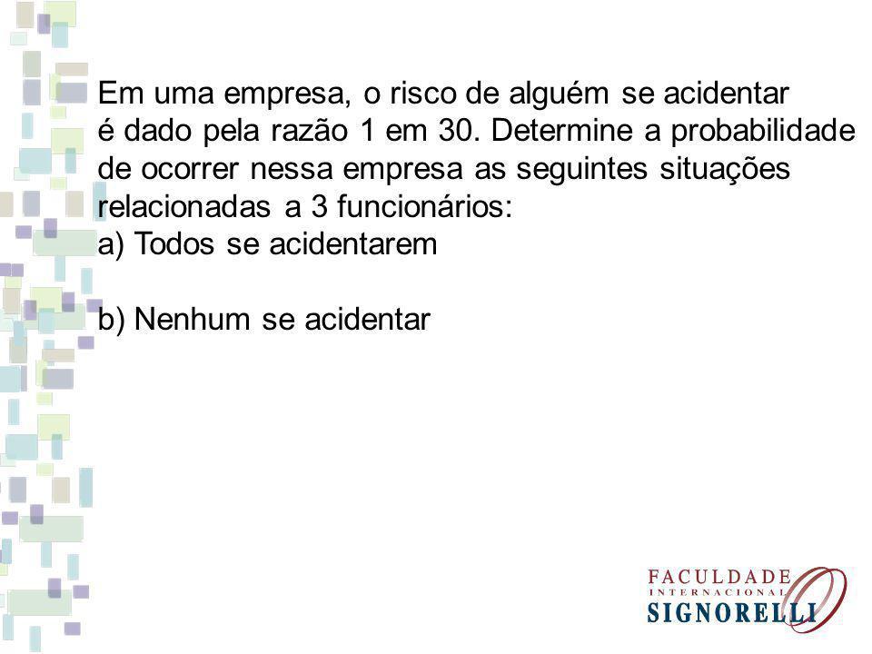 Em uma empresa, o risco de alguém se acidentar é dado pela razão 1 em 30.