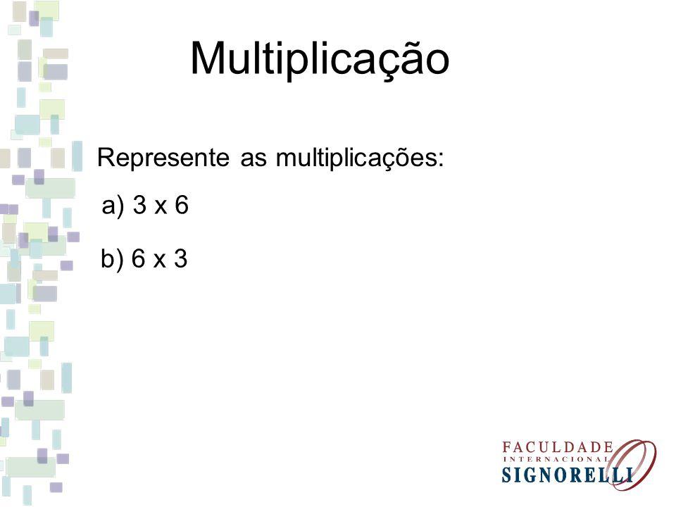 Multiplicação Represente as multiplicações: a) 3 x 6 b) 6 x 3